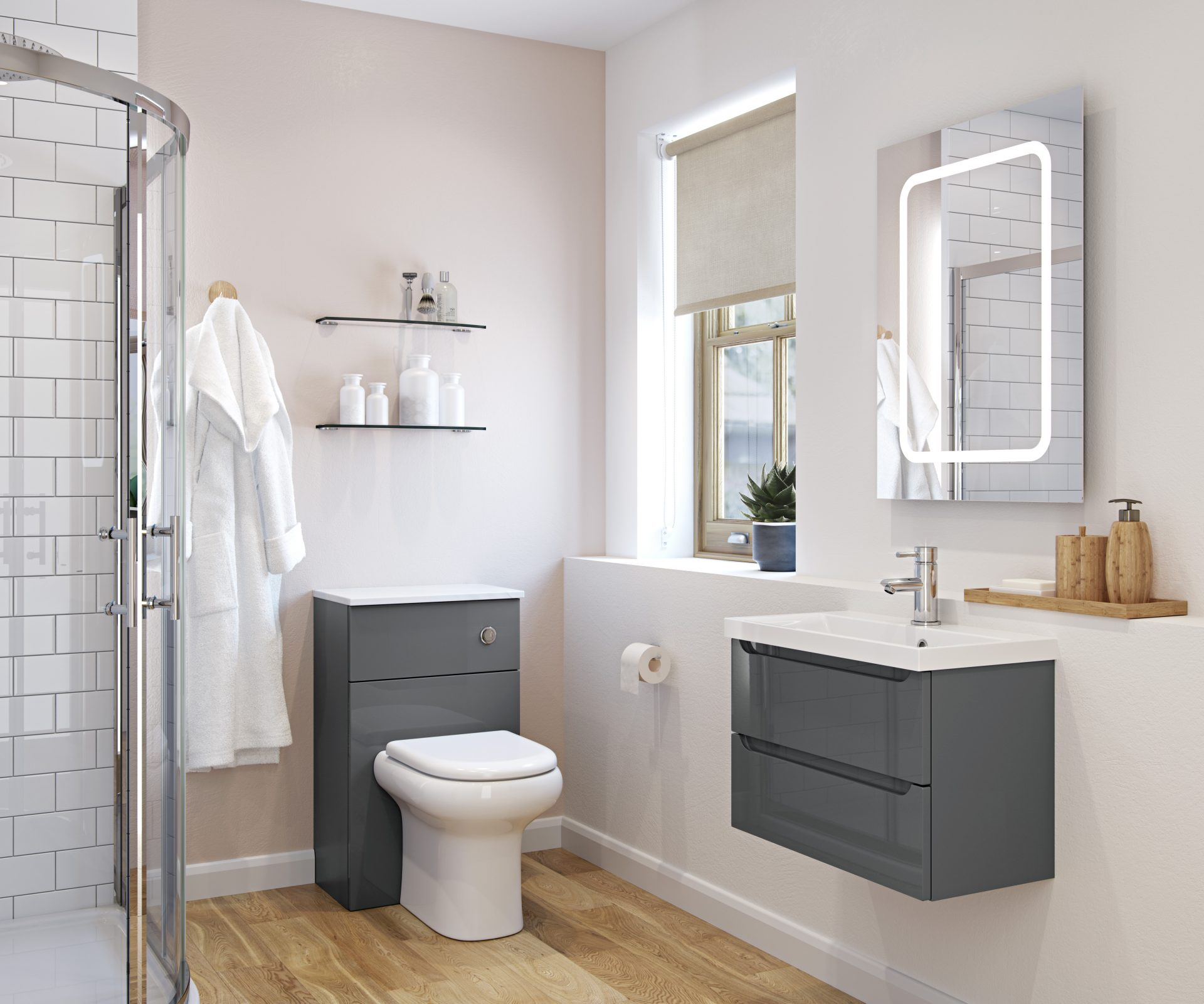 Anthracite Gloss Pull Handle Modular Bathroom Telford