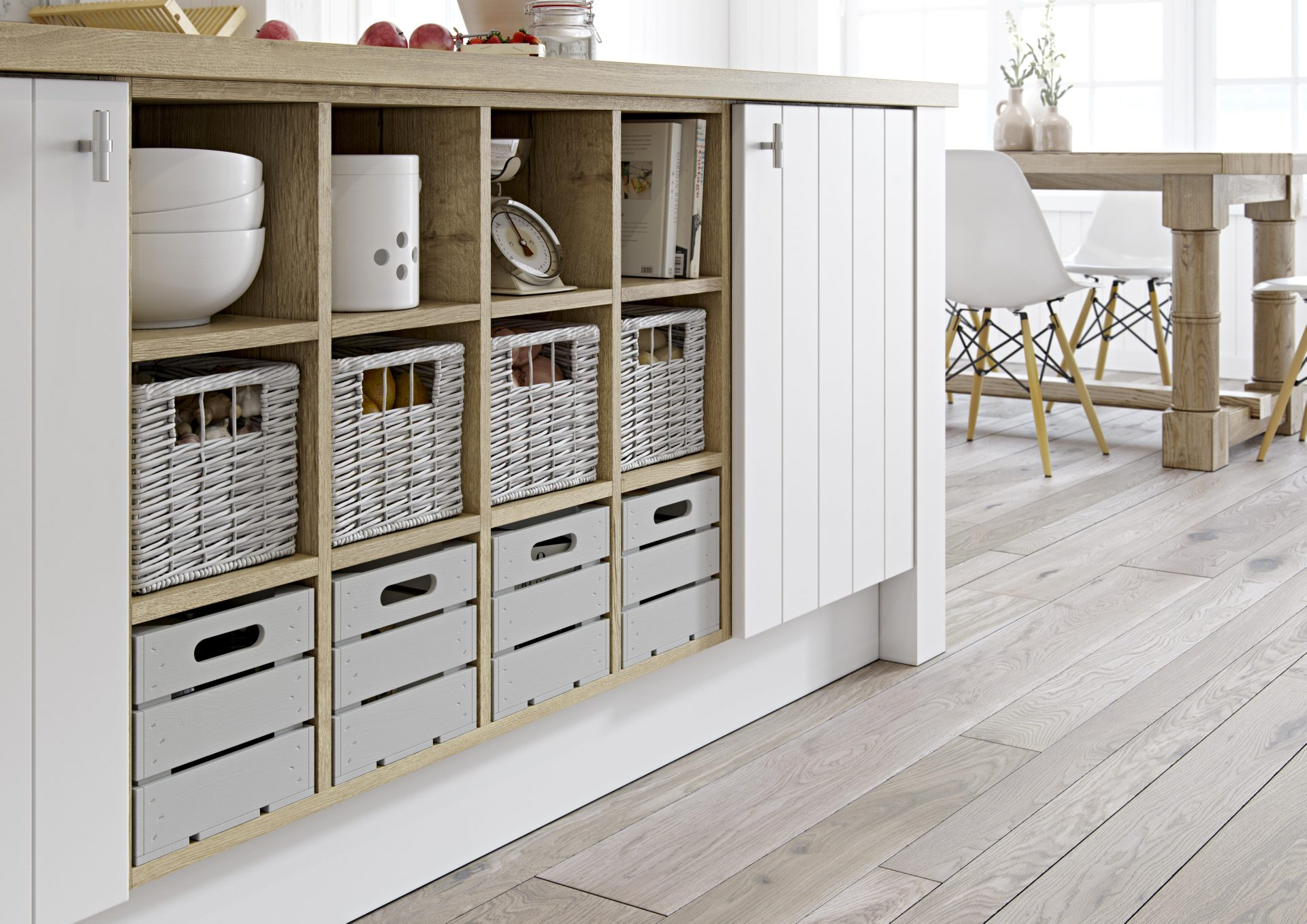Feature Open Display Base with a Choice of Storage Inserts