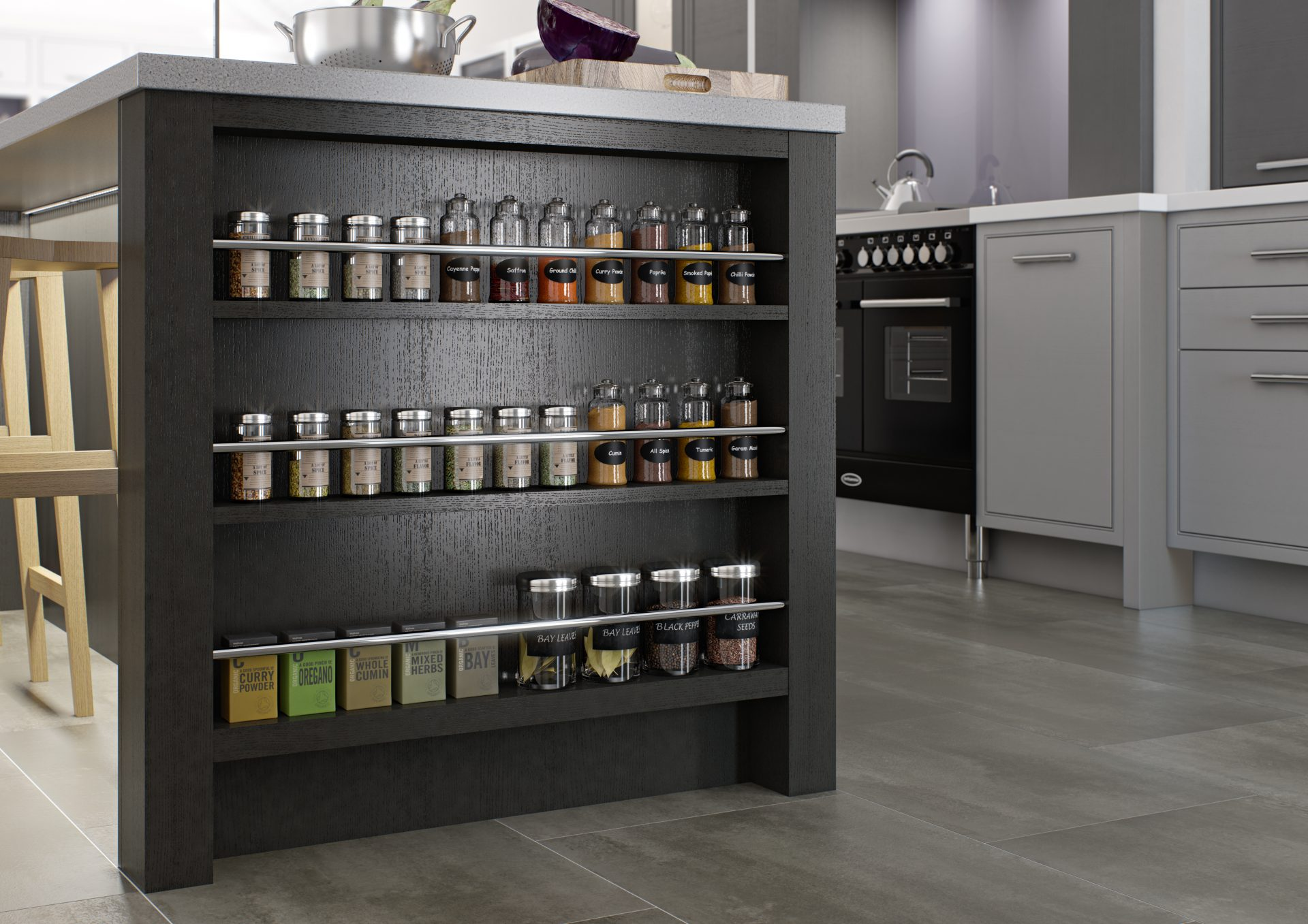 Feature Spice Rack End Cabinet