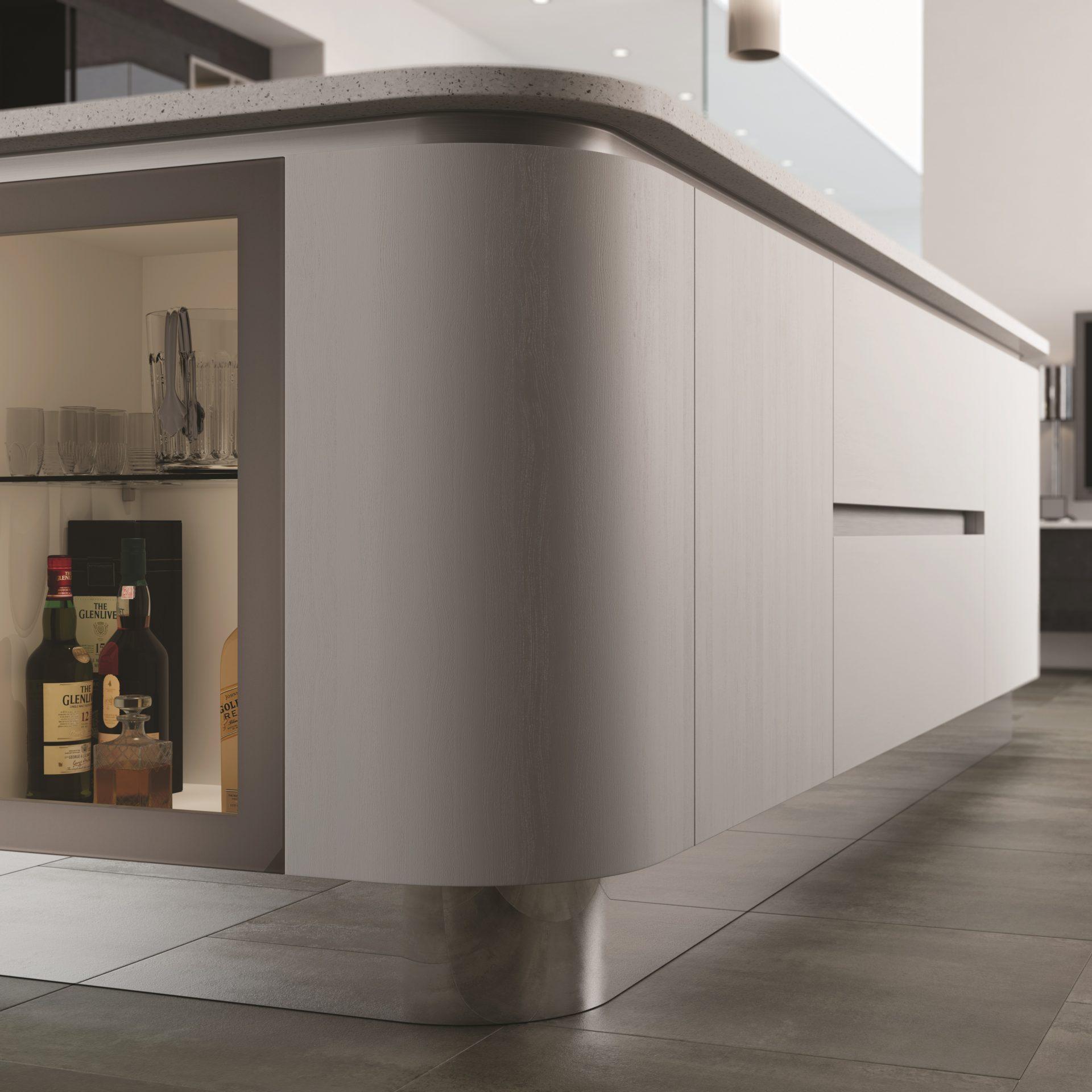 Graphite Linen & Light Grey Matt Flexable Mirrored Plinth