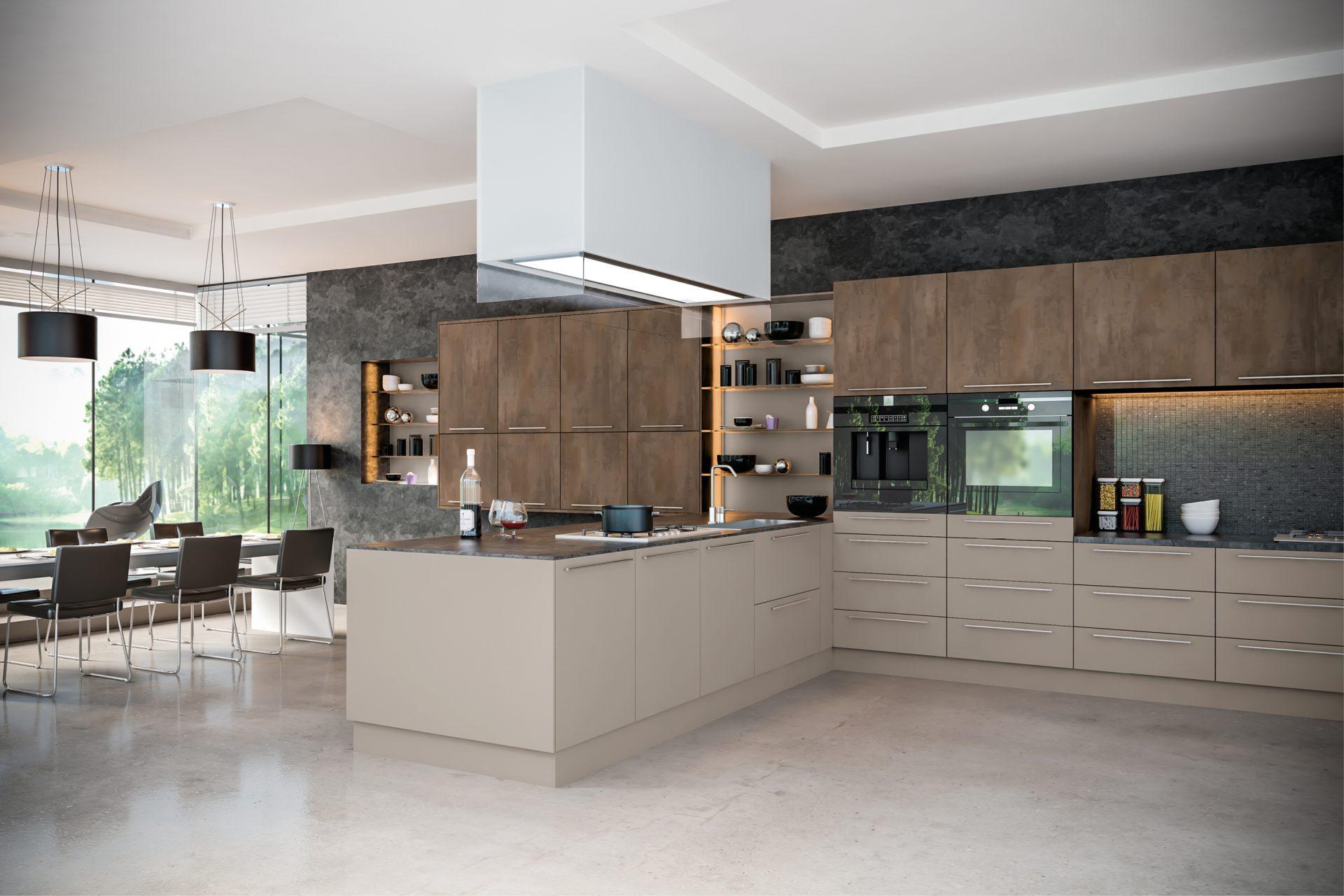 Grey Brown Metallo Stone Grey Kitchen