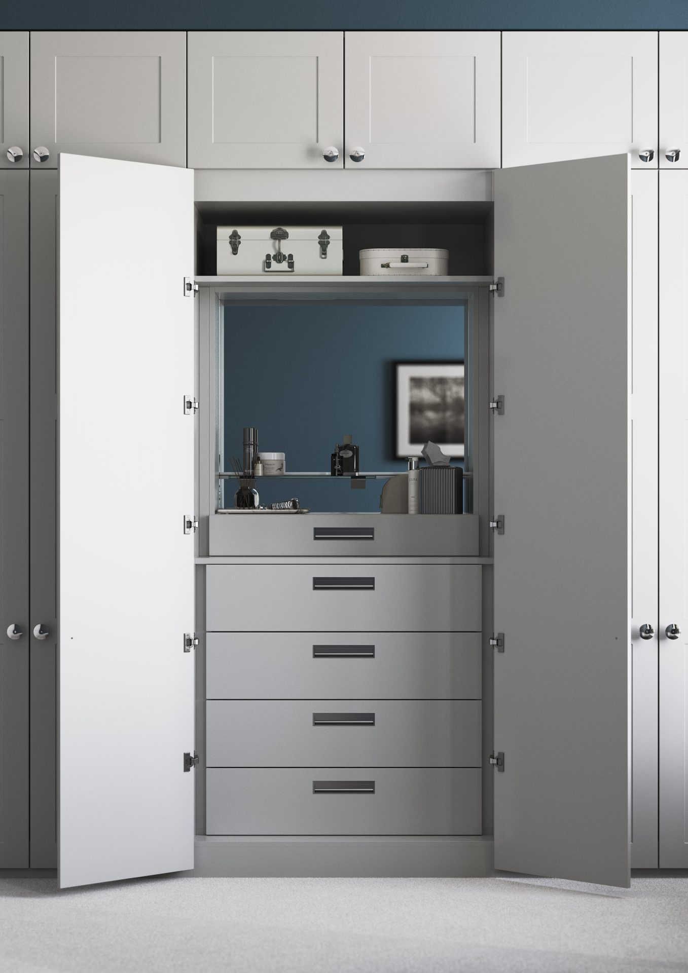 Grooming Unit with internal four drawer insert