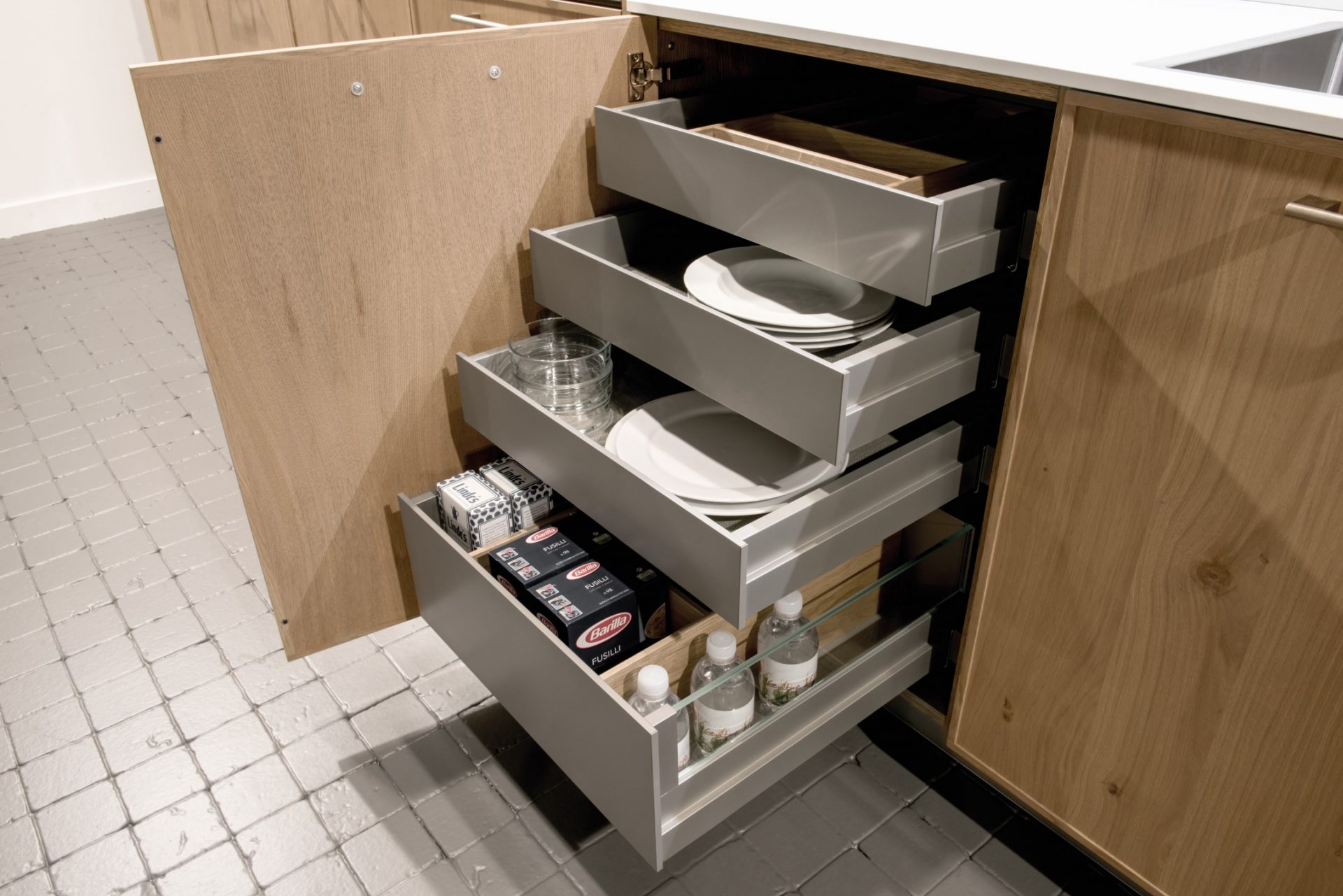 Integrated Drawers In Kitchen Cupboard