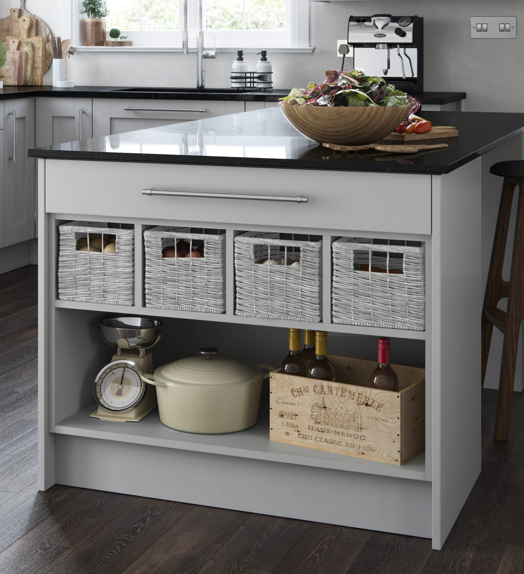 Open Display Base with Pull out Baskets