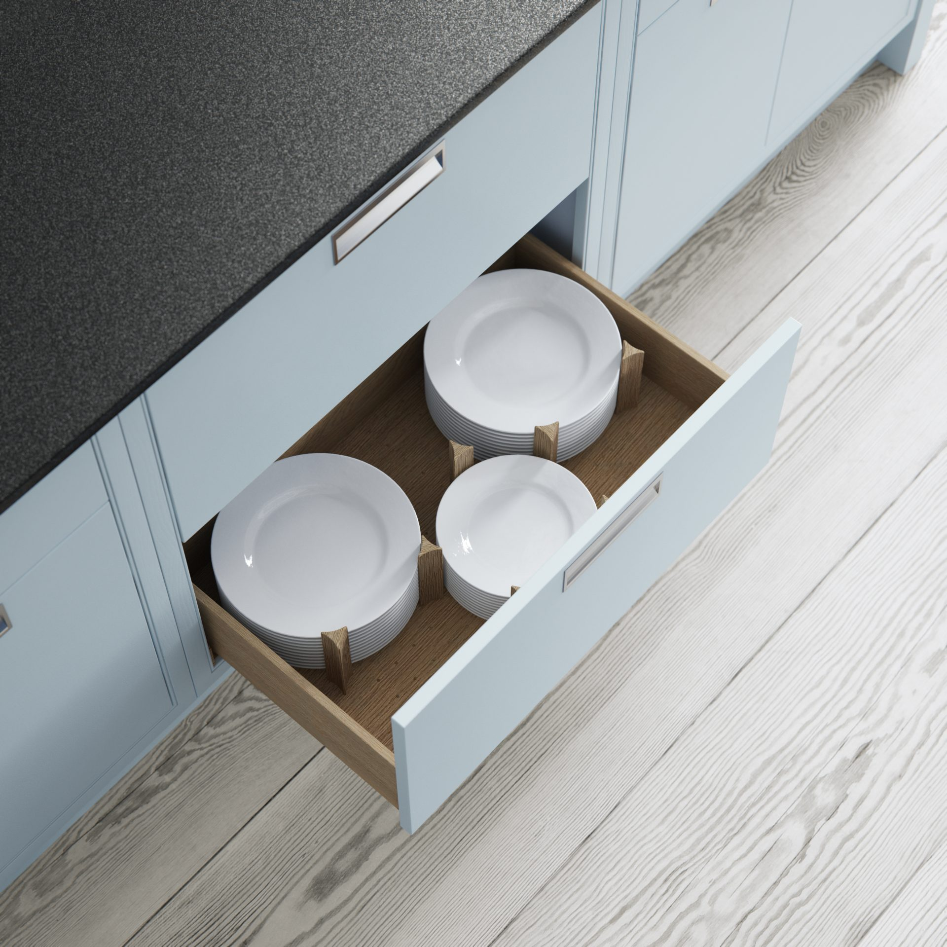 Pan Drawer With Oak Plate Insert