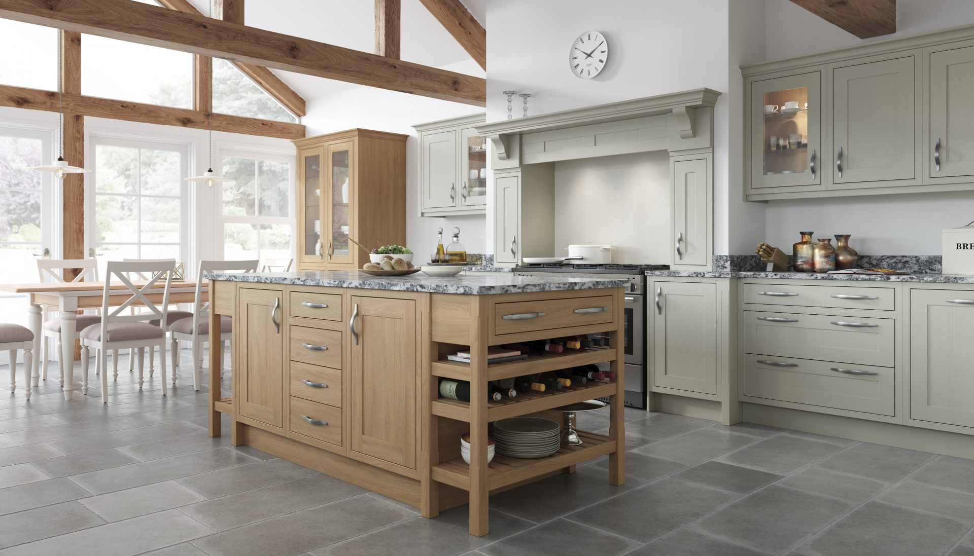 Shaker Shown in Light Fern and Natural Oak