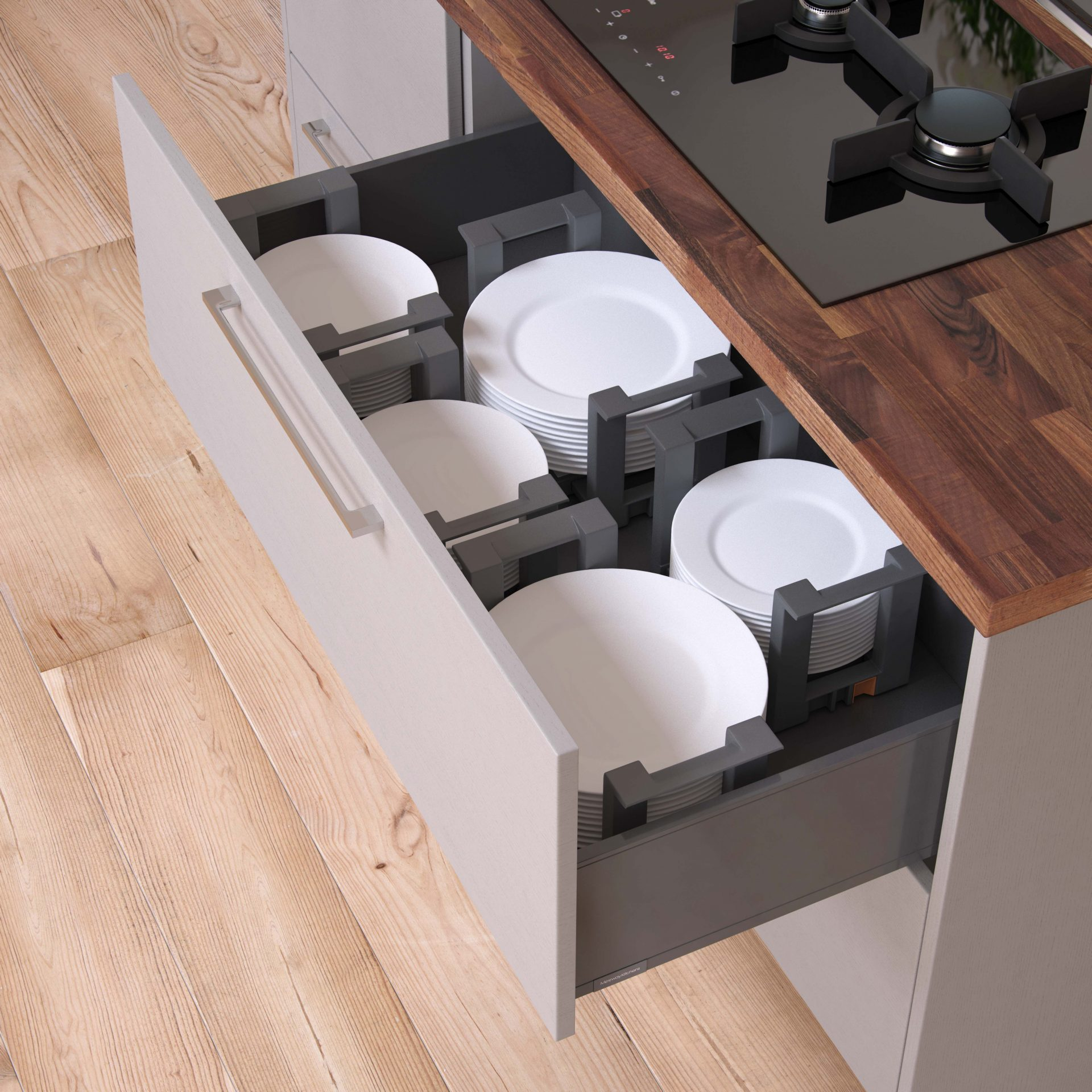 Standard White Pan Drawer with Recyling Bin Packs and Plate Holders