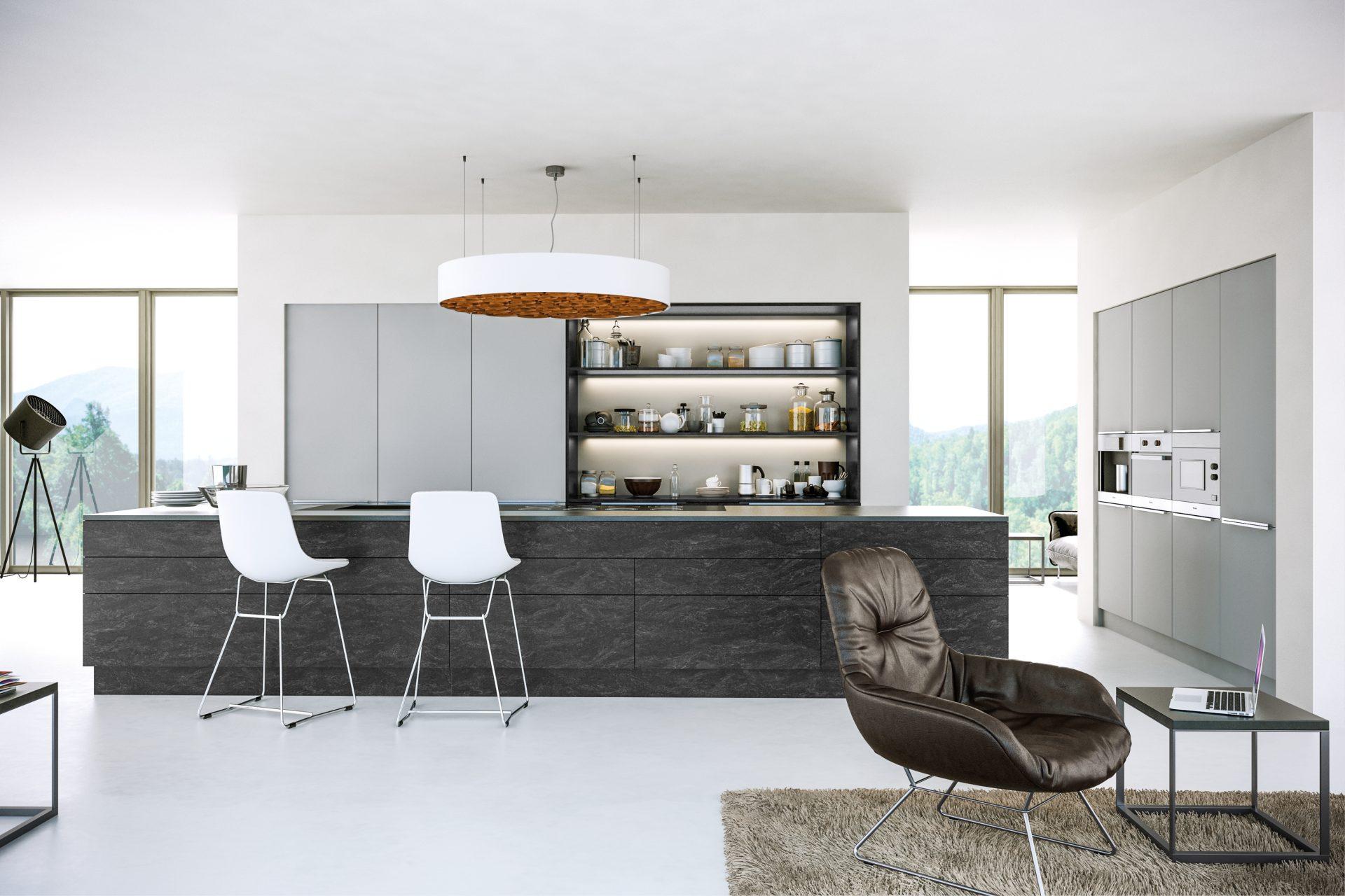 Supermatt Light Grey Evora Stone Graphite Kitchen