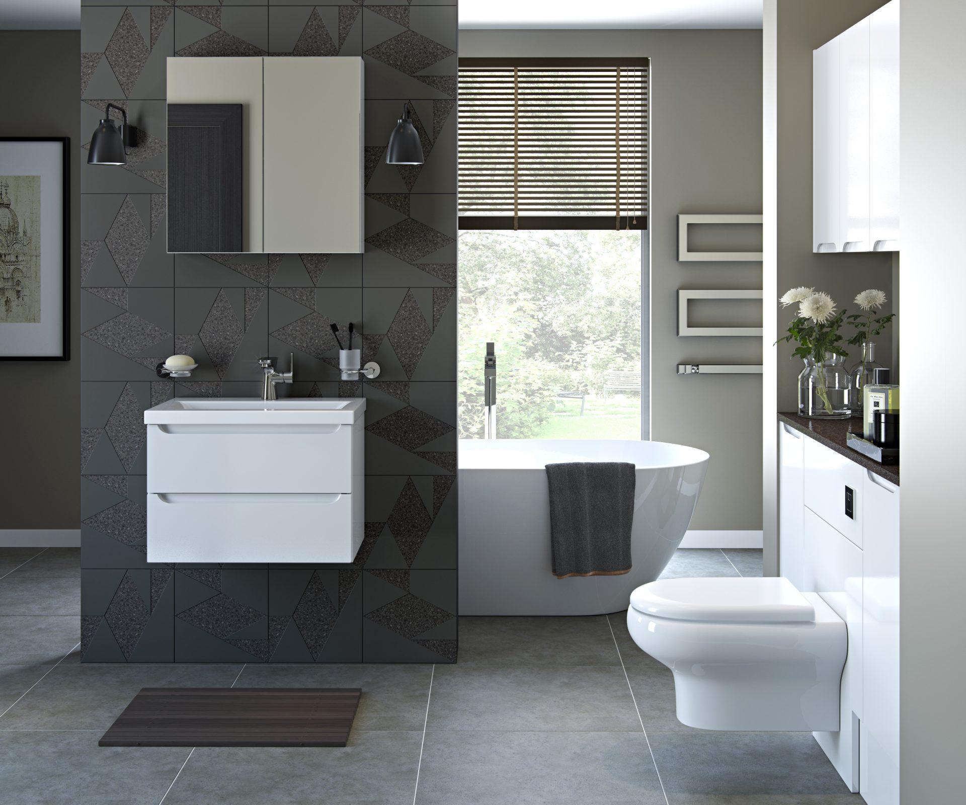 White Gloss Pull Handle Modular Modern Bathroom