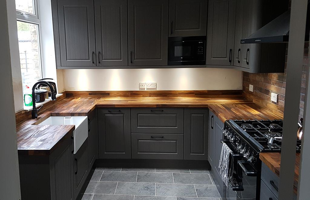 Dark Grey Solid Wood Kitchen - Newport Shropshire