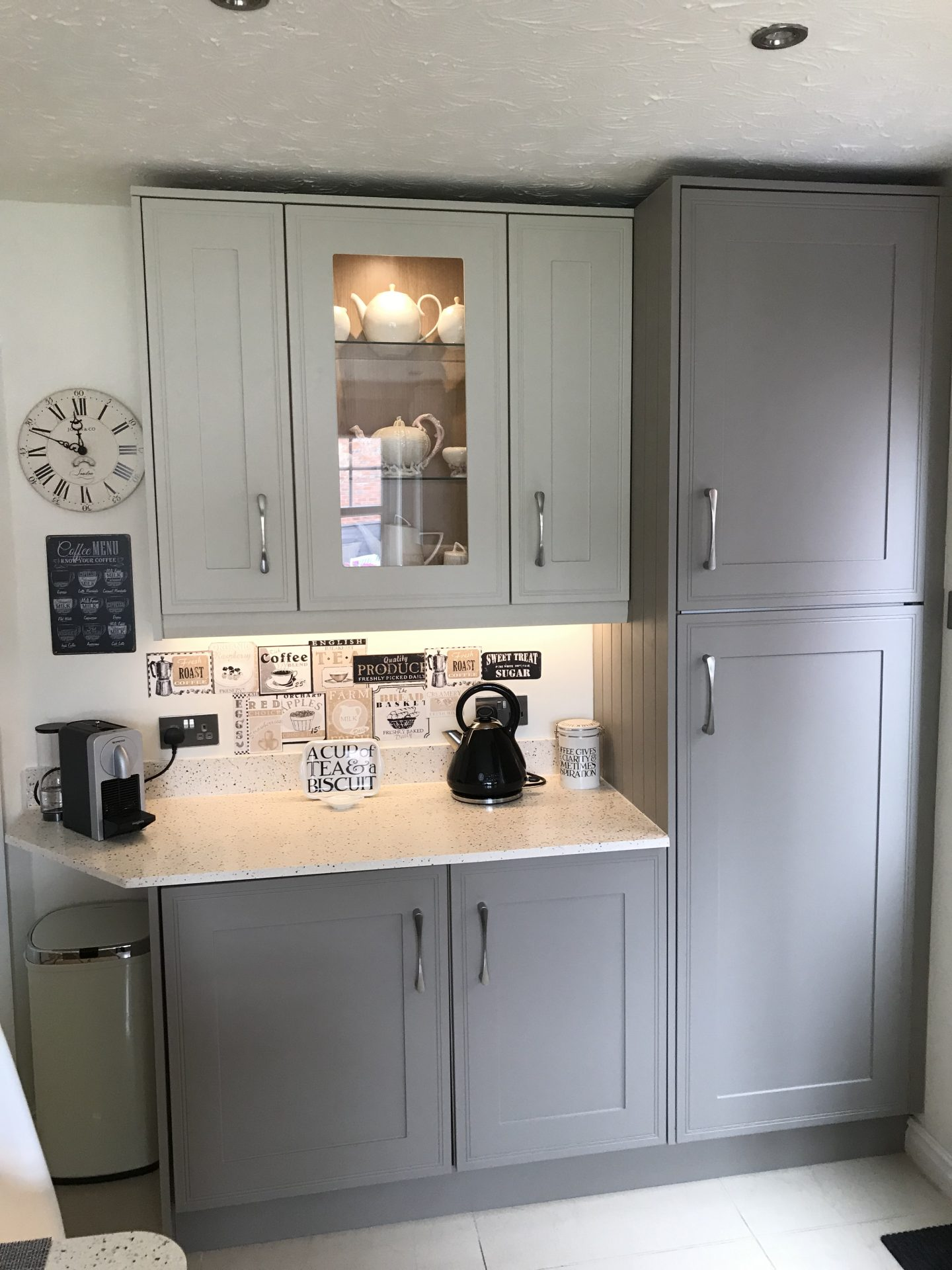 Classic Kitchen Installation with glass cabinets - St Georges Telford Shropshire