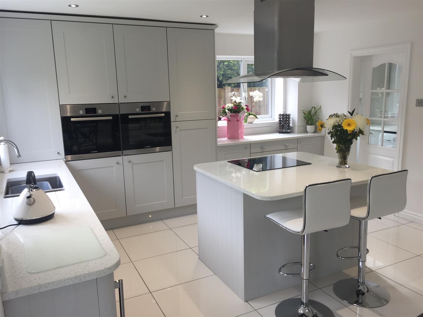Classic Dove Grey Kitchen with Solid Quartz - Priorslee, Telford