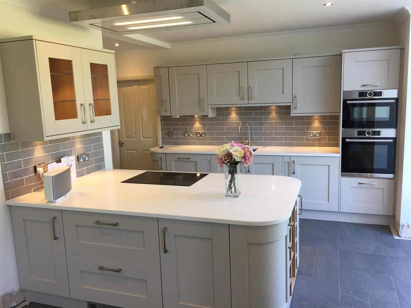 Solid Wood White Painted Kitchen with Peninsular - Installed in Newport, Shropshire