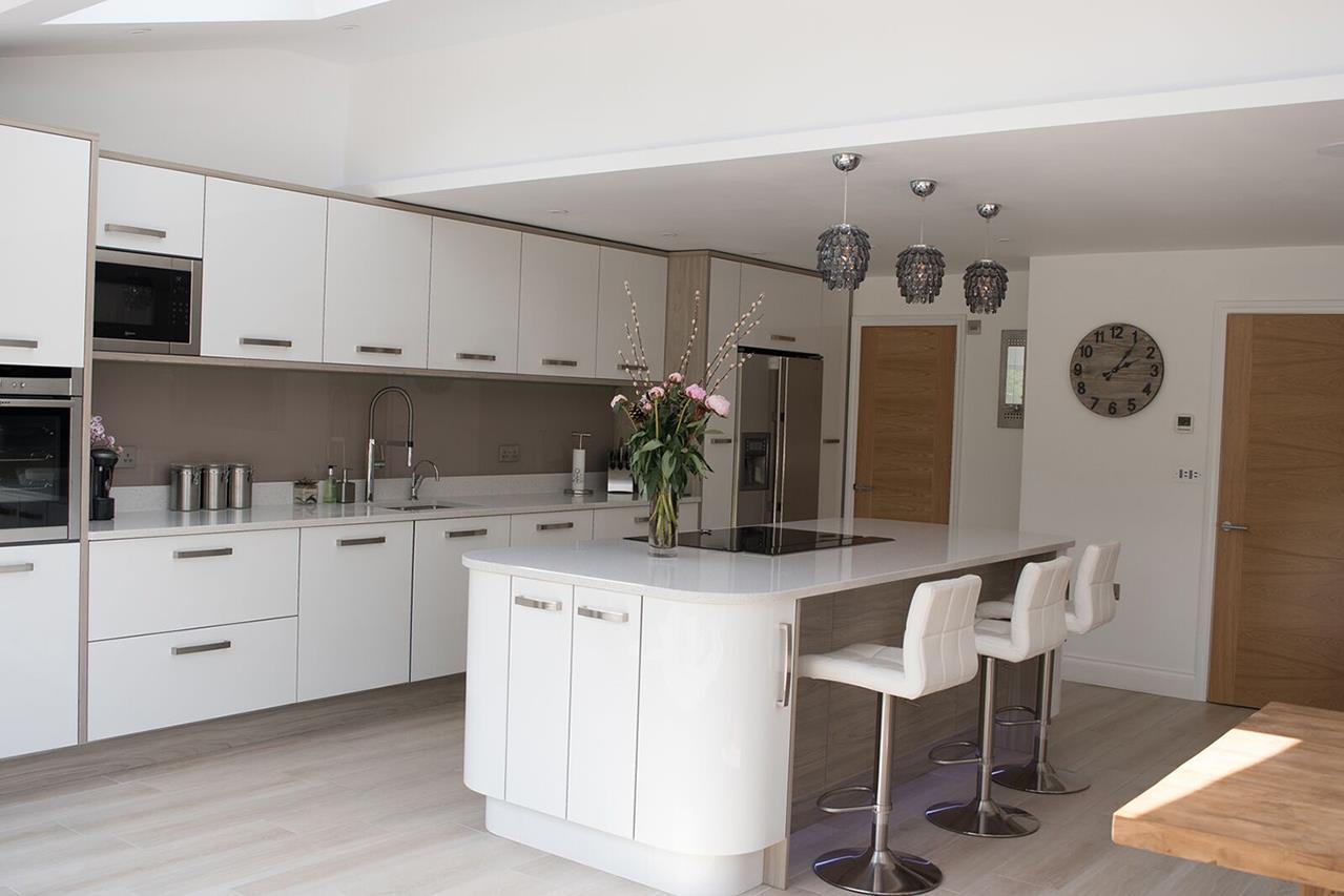 Ultra Gloss White Kitchen with Island - Albrighton, Shropshire