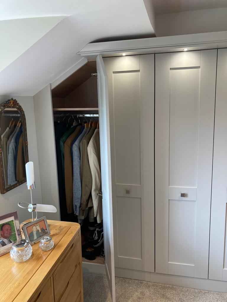 Fitted Bedroom Wardrobes with Angle Doors - Light Grey Painted