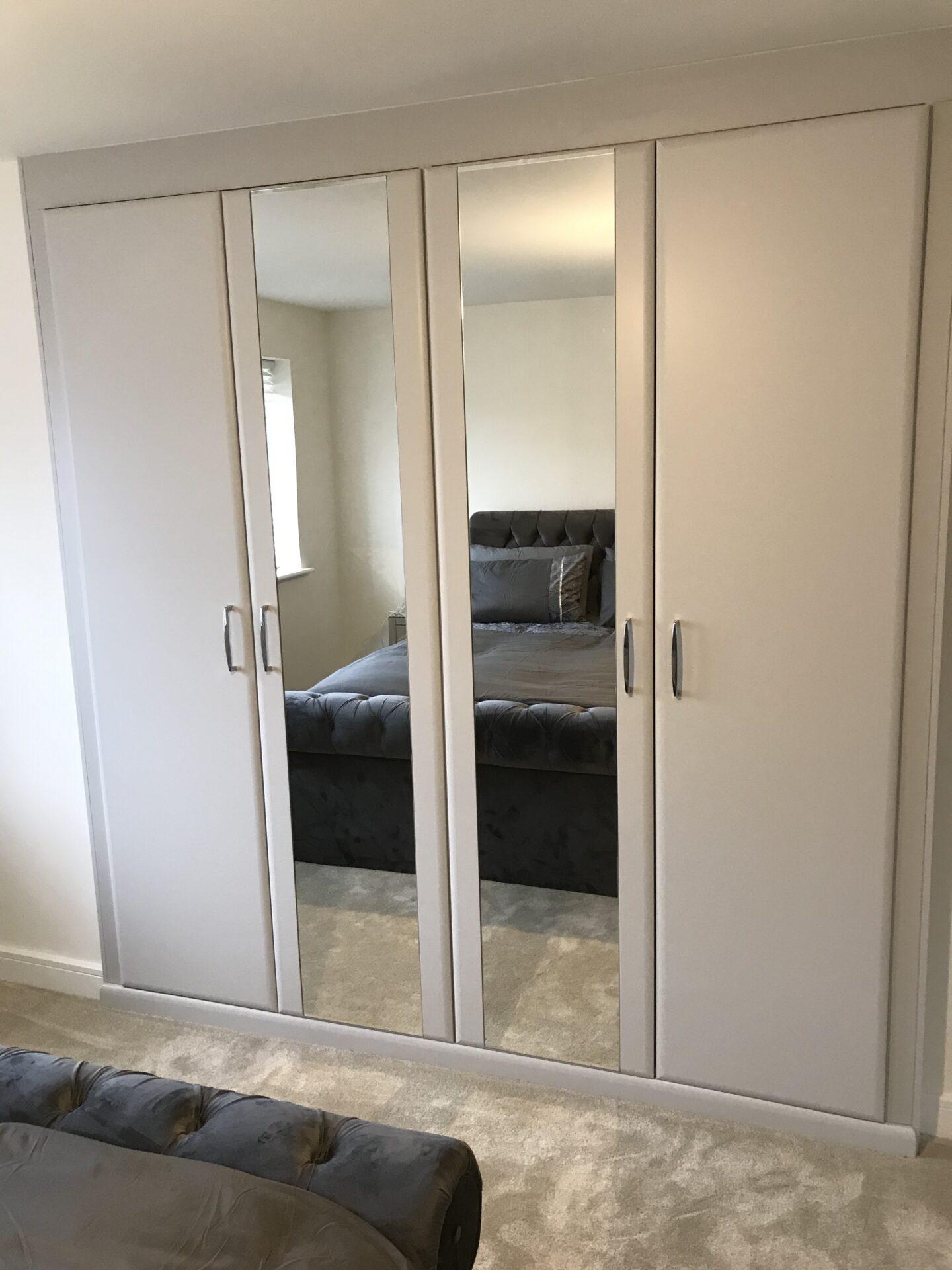 Fitted Mirror Wardrobe Hinged Doors - Matt Light Grey