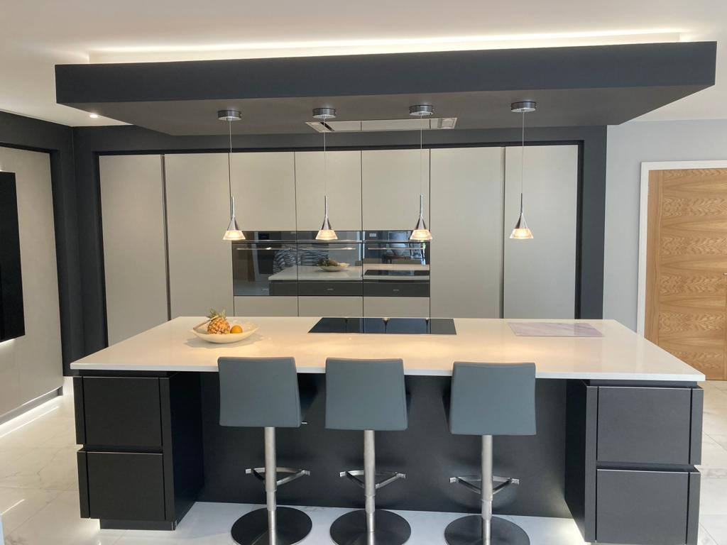 German Handle less Kitchen with Island & Tv Feature Wall - Titanium and Carbon - Quartz Solid Surface