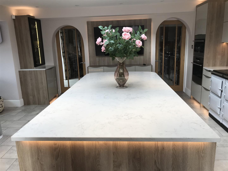Modern German Granite Kitchen with Solid Quartz Island - Bridgnorth