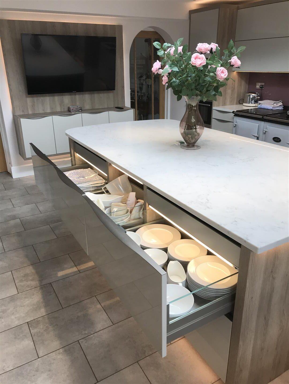 Modern German Granite Kitchen with Solid Quartz Island showing Drawers Open - Bridgnorth
