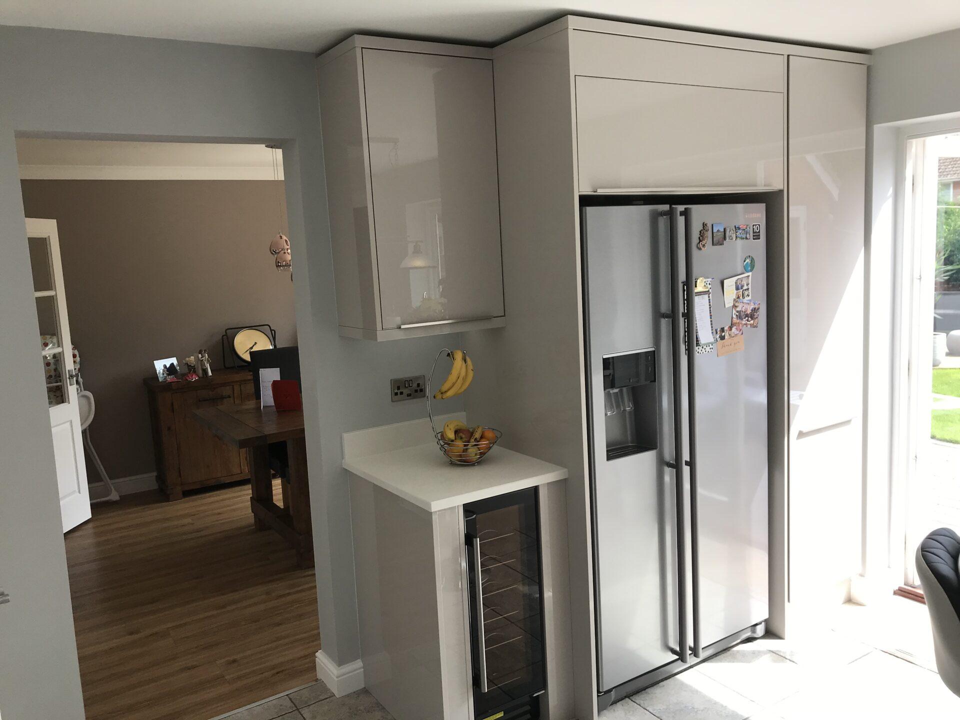 Ultra Gloss Cashmere Kitchen with American Fridge Freezer configuration
