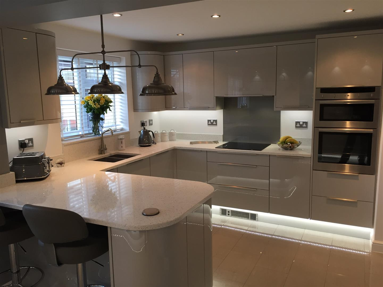 Ultra Gloss Grey Quartz Worktop with Peninsular - The-Rock, Telford