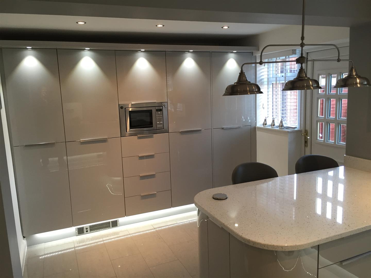 Ultra Gloss Grey Kitchen with Quartz Worktop with Peninsular - The-Rock, Telford
